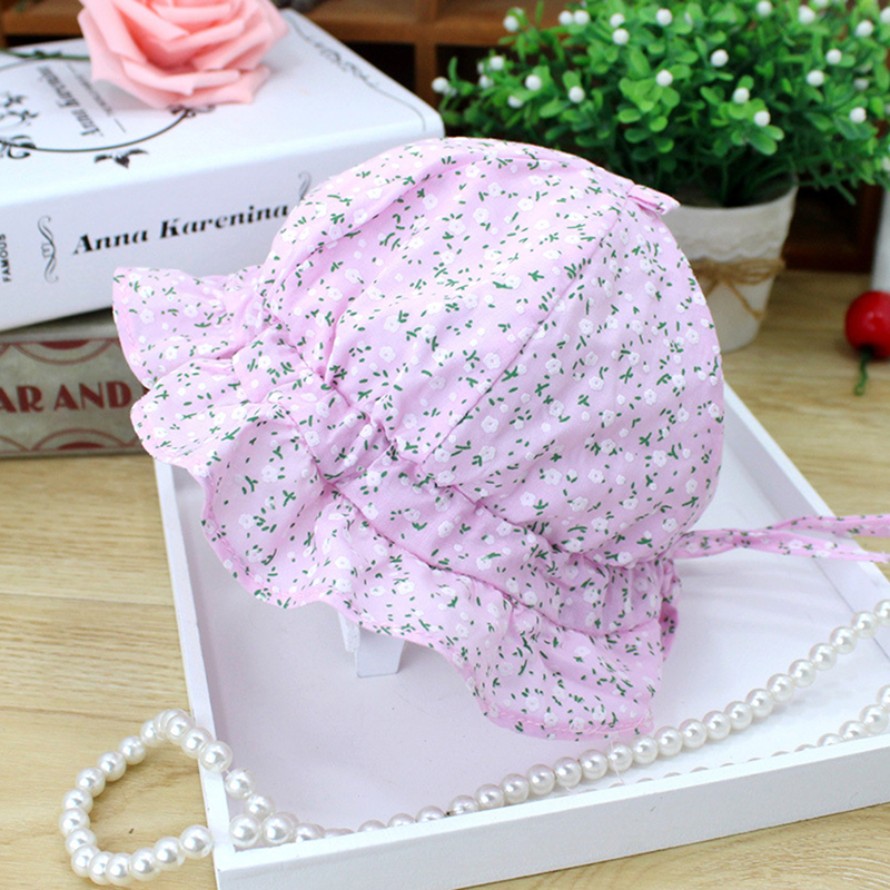 2019 New Korean Baby Girl Lace Princess Hats Cute Print Girls Sun Cap Fashion Lace Child Caps For Girl Summer Cotton Baby Bonnet