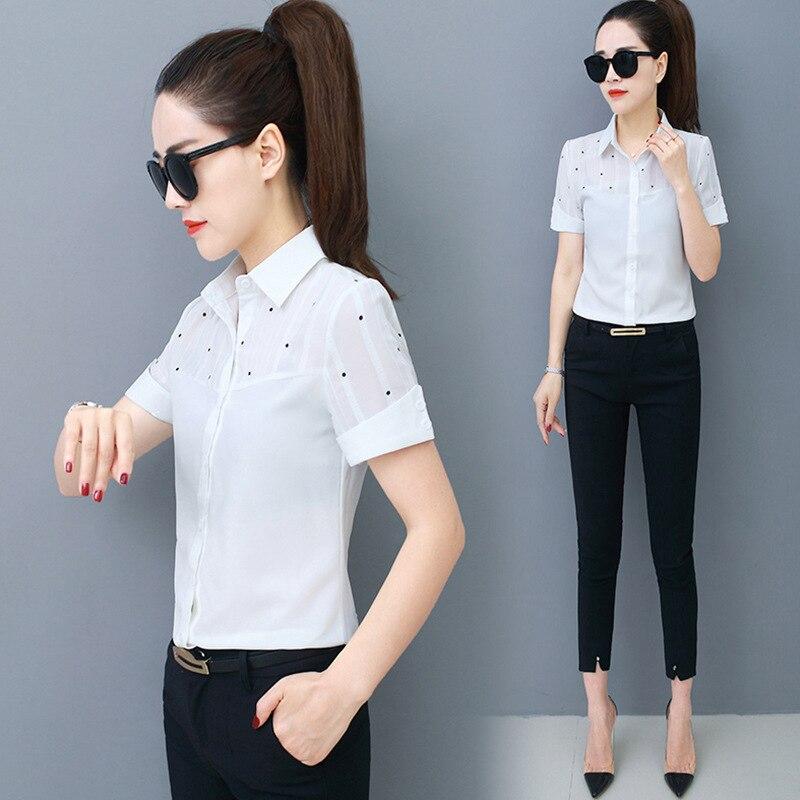 Korean Fashion Polka Dot Chiffon Women Blouses Summer Short Sleeve Office Lady Shirt and Blouse Plus Size XXXL/5XL Collar Blouse