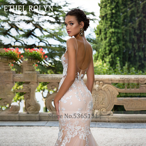 Image 3 - ETHEL ROLYN Sexy Backless Mermaid Wedding Dress 2020 Short 3D Flowers Illusion Appliques Wedding Gowns vestido de novia