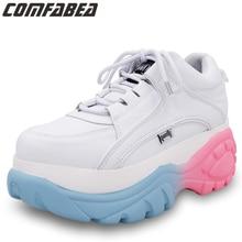 COMFABEA trampki damskie buty wiosenne jesienne buty na platformie Goth damskie buty zimowe w kolorze białym