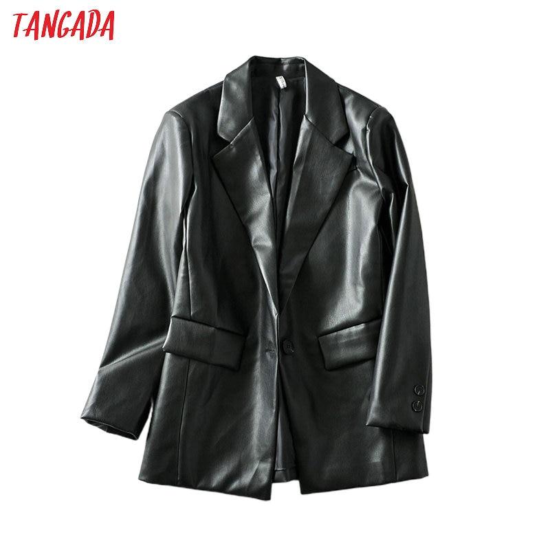 Tangada Women Black Faux Leather Blazer Female Long Sleeve Elegant Jacket Ladies Casual Blazer Suits 6A41