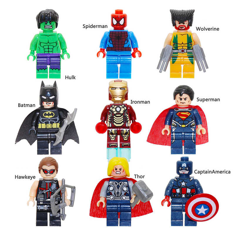 Superhéroes Thanos Iron Man Hulk Spiderman Batman capitán Marvel Legoinglys Marvel vengadores bloques de construcción juguetes figuras regalo
