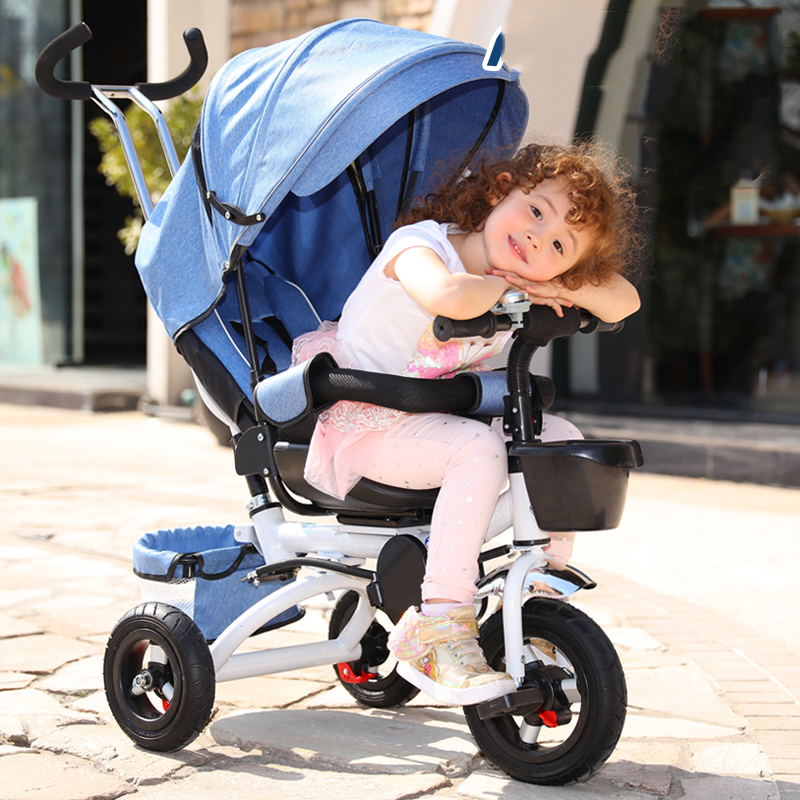Folding Children's Tricycle 1-3 Reclining Baby Bicycle Infant Stroller Baby Stroller 3 Wheel Bicycle