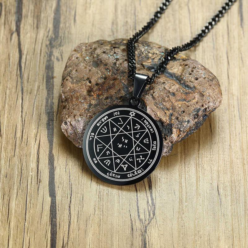 Król salomon pieczęć straż i ochrona wisiorek stal nierdzewna siódmy pentagram marsa naszyjnik mężczyzn biżuteria