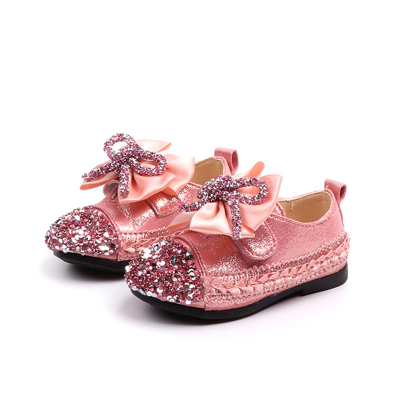 SKOEX Toddler Girls Shoes Children Kid Bowknot Bling Single Party Dance Shoes Baby Girl Wedding Children's Flats
