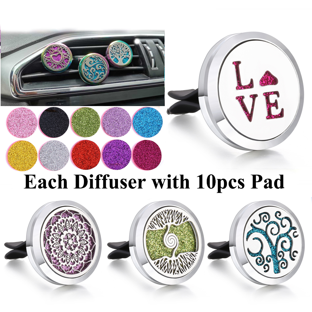 Car Air Freshener Perfume Diffuser Clip Auto Vent Essential Oil Locket with 10pcs Pads Clips