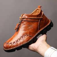 Alta qualidade de couro genuíno dos homens botas moda zíper sapatos masculinos couro de vaca homem marrom tornozelo botas 2019 outono mais tamanho 38-48