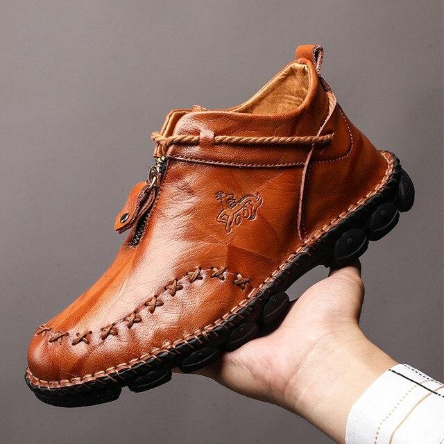 Haute qualité en cuir véritable hommes bottes mode fermeture éclair chaussures mâle en cuir de vache homme marron bottines 2019 automne grande taille 38-48