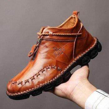 Hohe Qualität Aus Echtem Leder Männer Stiefel Fashion Zipper Schuhe Männlichen Kuh Leder Mann Braun Stiefeletten 2019 Herbst Plus Größe 38-48