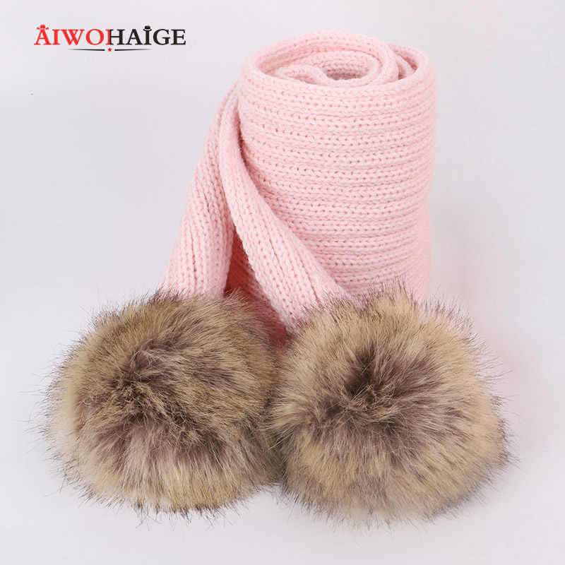 2019 new cute children pompom knit beanie hat scarf winter boy girl fashion soft Cap Scarves Baby luxury kerchief Kids wraps
