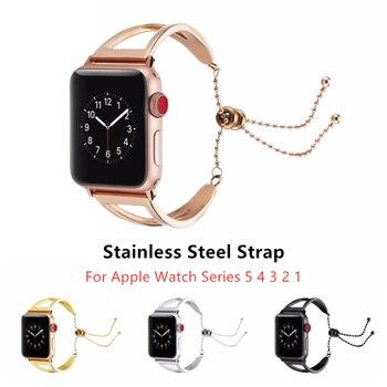 цена на Women Jewelry Watchband For Apple Watch Series 5 4 44mm 40mm   Metal Strap For iWatch 3 2 1 42mm 38mm Band Wrist Belt Bracelet