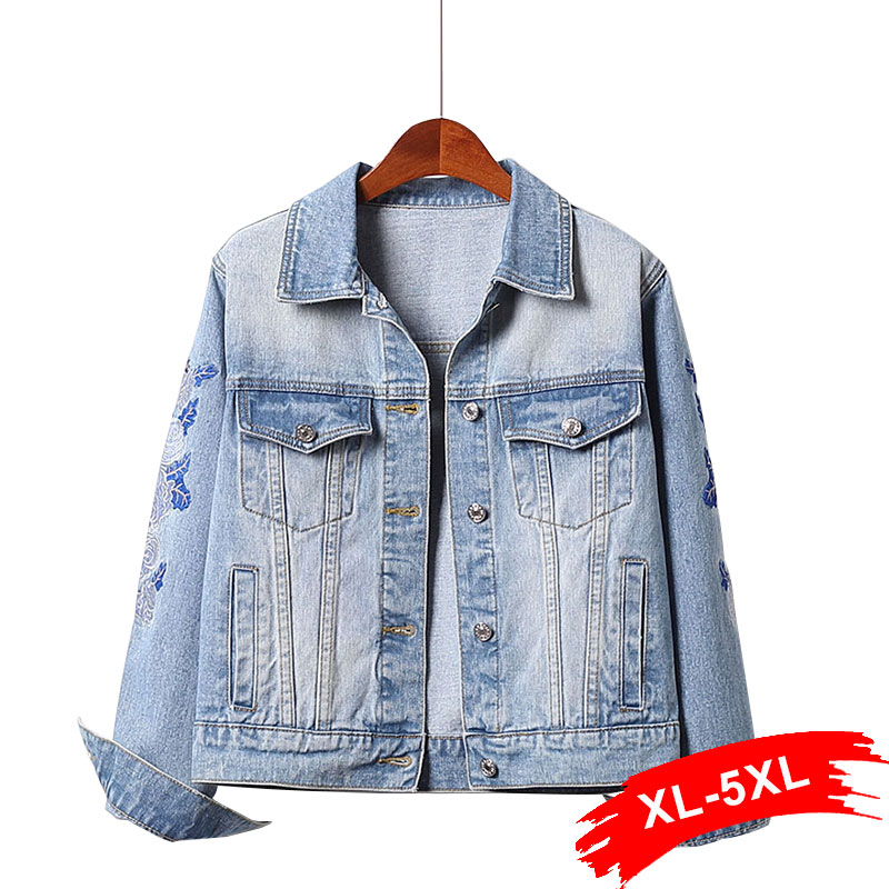 Women Plus Size Blue Floral Embroidery Long Sleeve Bomber Jeans Jackets 3XL 5xl Spring Short Bomber Casual Denim Coat
