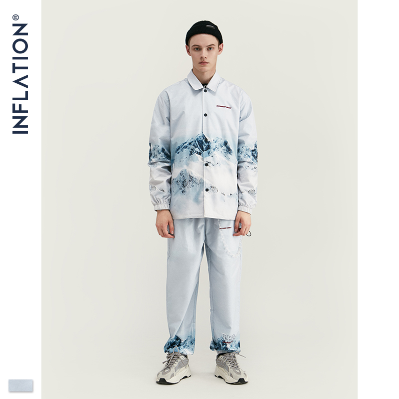 INFLATION 2020 DESIGN Casual Loose Fit Blazer with Print  White Color Streetwear Men Suit Fashion Style  Terno Masculino BlazersMens Sets   -