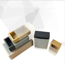 Transparent Paper Box For Packaging Drawer Style Gift With Frosted Sleeve Black Kraft Packing 10pcs
