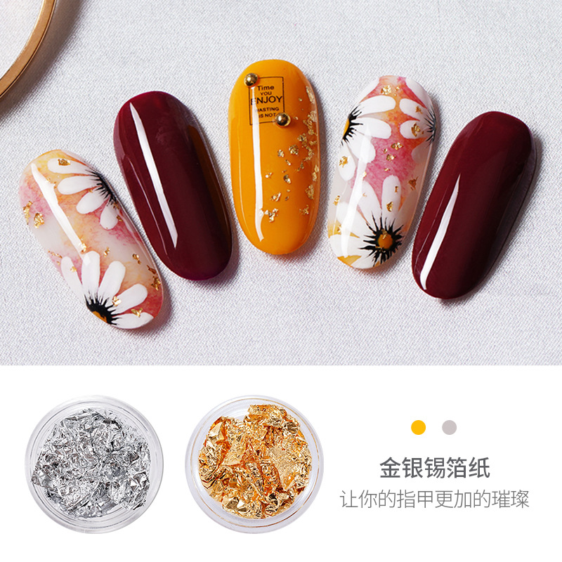 Manicure Tin Foil Nail Ornament Color Gold And Silver Broken Tin Foil Manicures Decoration Nail Sticker