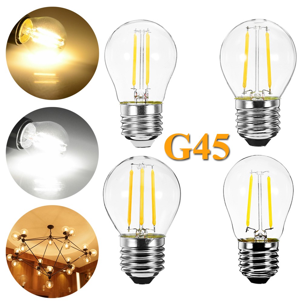 E27 Vintage LED Filament Light Bulbs White 2W 4W 6W Replace Incandescent 20W 40W 60W Lamp G45 Screw Base Retro Edison Bulb 220V