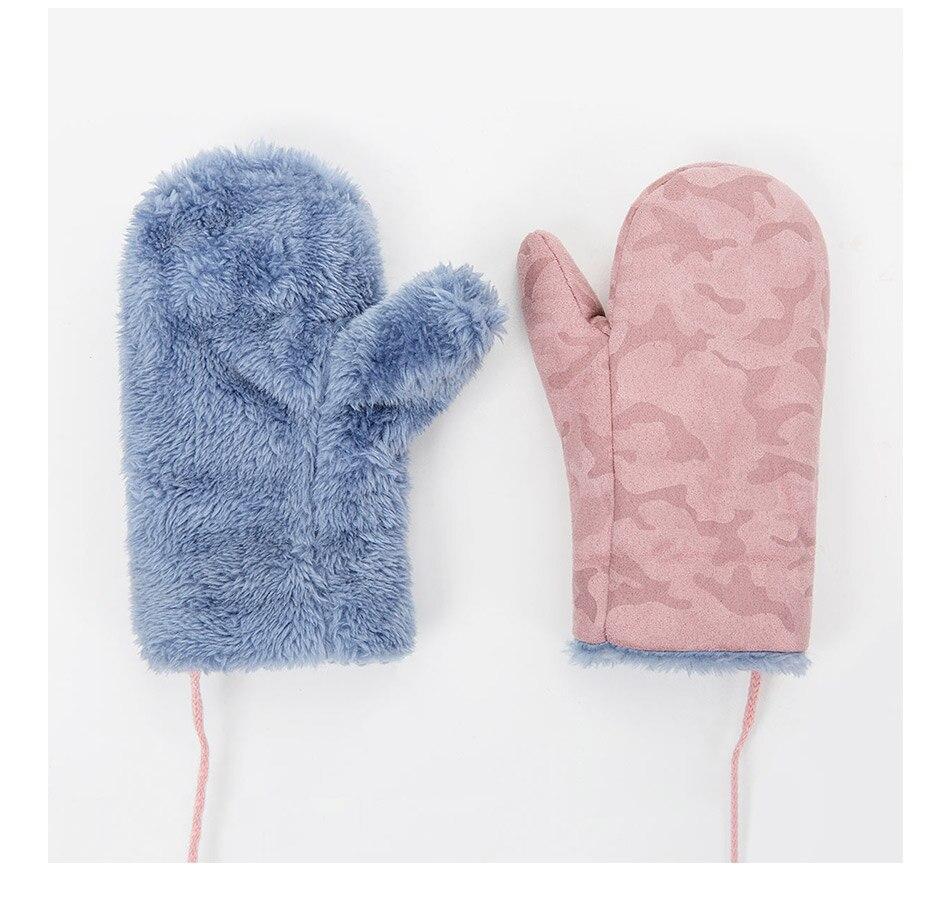 TRUENJOY, модные зимние перчатки для мальчиков и девочек, теплые, с веревкой, с полными пальцами, варежки, перчатки для детей, плюс бархатные зимние перчатки для детей