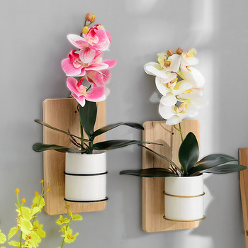 Nordic Home Decoration Vintage Wall Mounted Ceramic Flower Pots With Wood Stand Wall Hanging Planter Pot For Succulent Plants simple outdoor gardening creative succulent elephant flower pot ceramic plants pots vase decoration home nordic decor