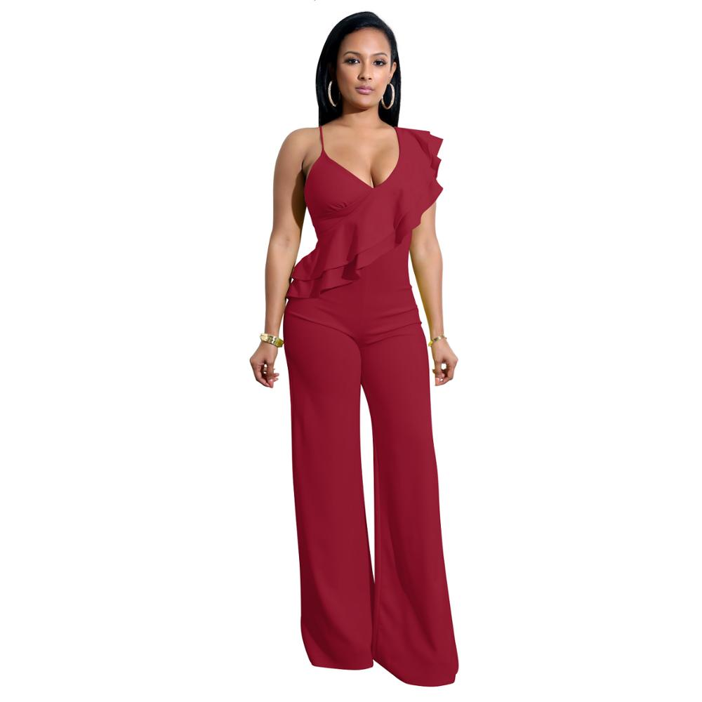Adogirl Ruffle Spaghetti Straps Loose Jumpsuits