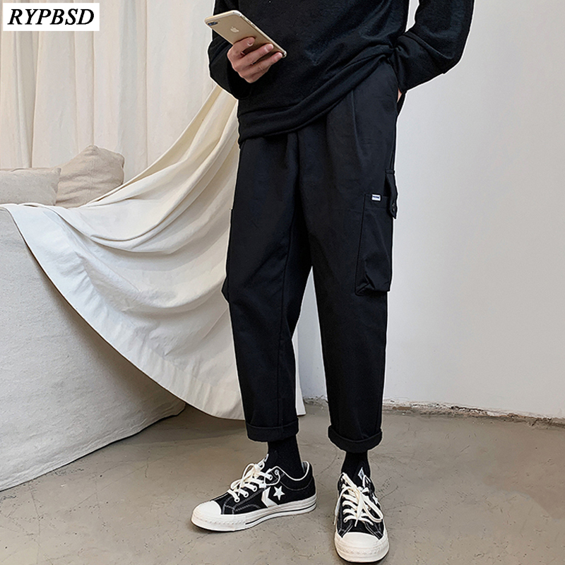 US $17.15 22% OFF|Men Cargo Pants Black Casual Mens Korean Fashion Tide Brand Streetwear Joggers Trousers Harajuku Straight Hip Hop Overalls Pants|Cargo Pants| |  - AliExpress