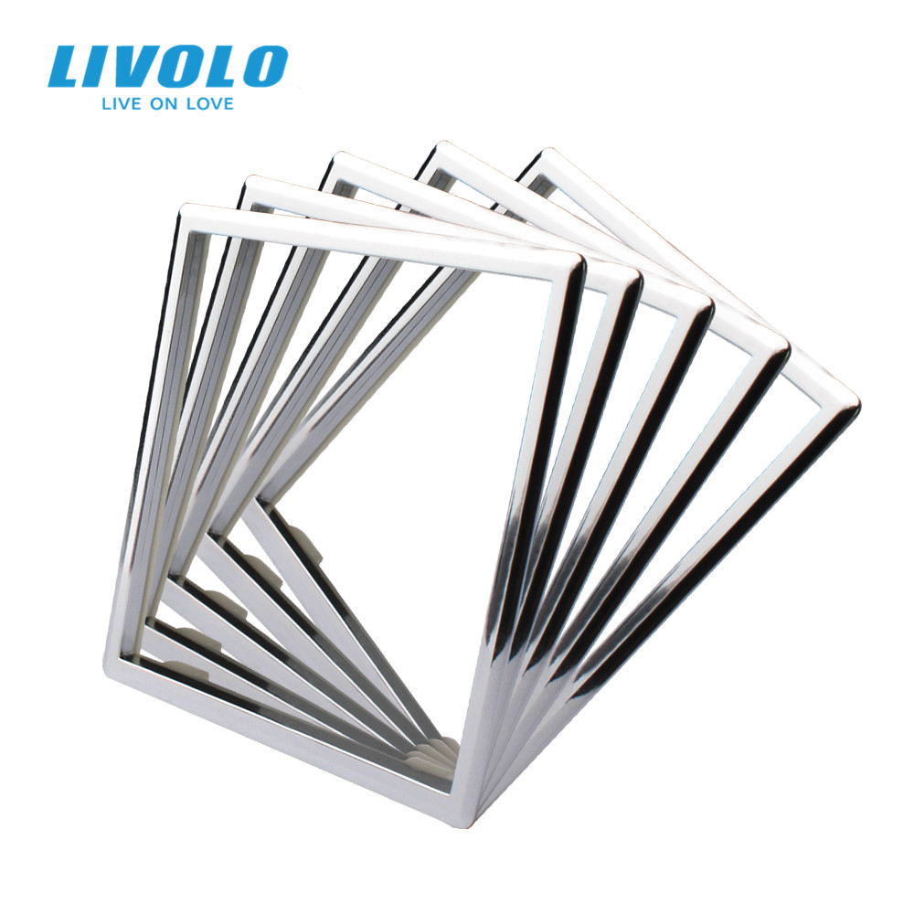 Livolo EU Standard  Socket  Accessory Decorative Frame For Socket One pack 5pcs Silver White Black  Color