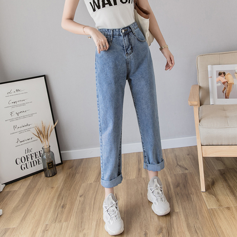High Waist Jeans Women's Spring Harem Pants Women's Loose-Fit Ripped Pants Children Straight-Cut Online Celebrity Dad Pants