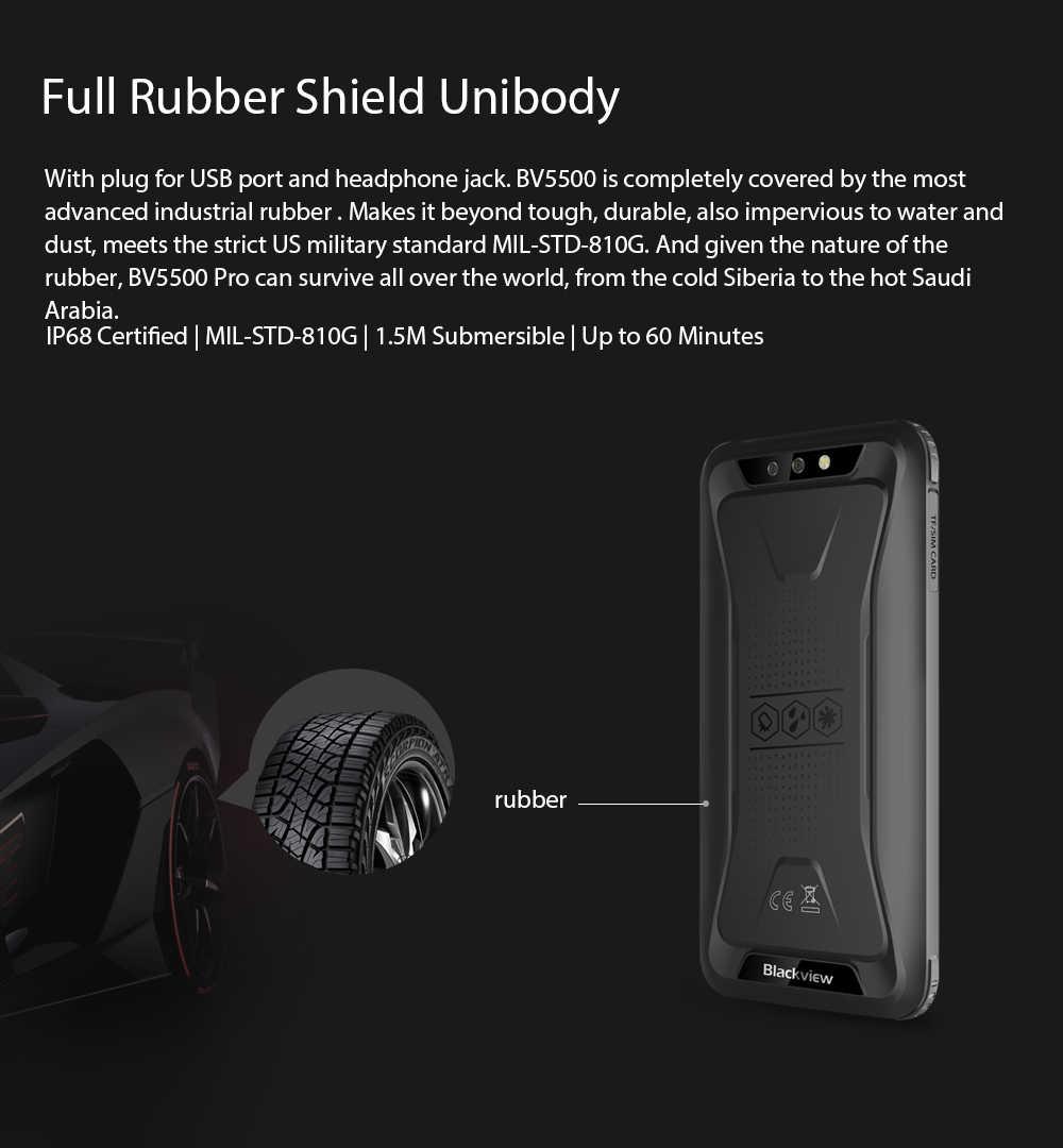 """Blackview BV5500 Pro IP68 Smartphone robuste étanche 3GB + 16GB 5.5 """"écran 18:9 4400mAh Android 9.0 NFC téléphone double SIM"""