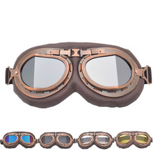 Vintage Goggles Motorcycle Leather Glasses Cruiser Folding Goggless For Harley Protection Eyewear UV C109