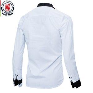 Image 2 - Fredd Marshall 2020 Fashion Long Sleeve Patchwork Striped Shirt Men Casual Social Male Shirts 100% Cotton Camisa Masculina 220
