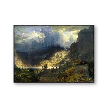Un Storm in the Rocky Mountains Mt Rosalie Albert bieradt Vintage pintura póster lienzo impresión Retro arte de pared decoración del hogar