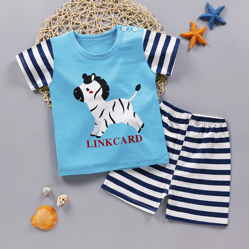 2019 Summer Boy Set Cartoon Cute Cotton Male Baby Set Toddler Boys Clothing Set Girls Boutique Outfits Toddler Boy Clothes