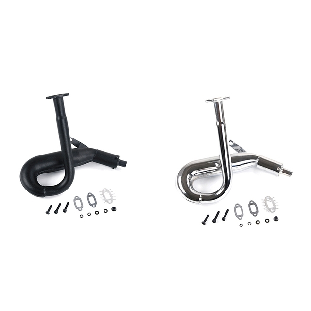 Chrome Resonant Tube Tuned Pipe Exhaust Pipe General for 1/5 HPI Baja 5B Ss 5T 5Sc King Motor Rc Car Tuned Pipe