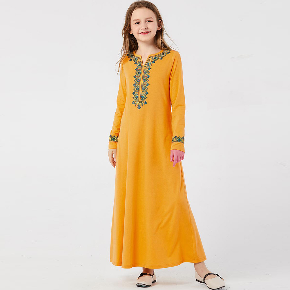 Girls Muslim Abaya For Kids Turkey Children Kaftan Robe Dubai Hijab Dress Embroidery Abayas Caftan Marocain Islamic Clothing
