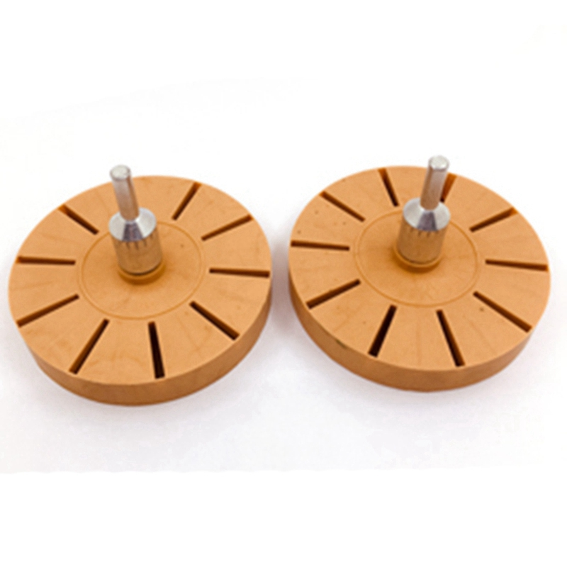 RUBBER ERASER CARAMEL WHEEL WITH FREE DRILL ATTACHMENT FOR CAR STICKER REMOVAL