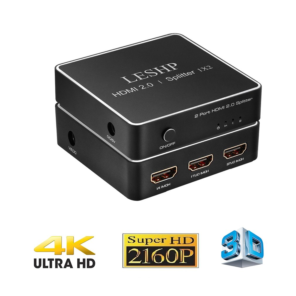 LESHP HDMI 2.0 1x2 Splitter Supports Full HD 4x2K 3D One Input To Two Outputs Support Video Format Up To 4k2k 30Hz