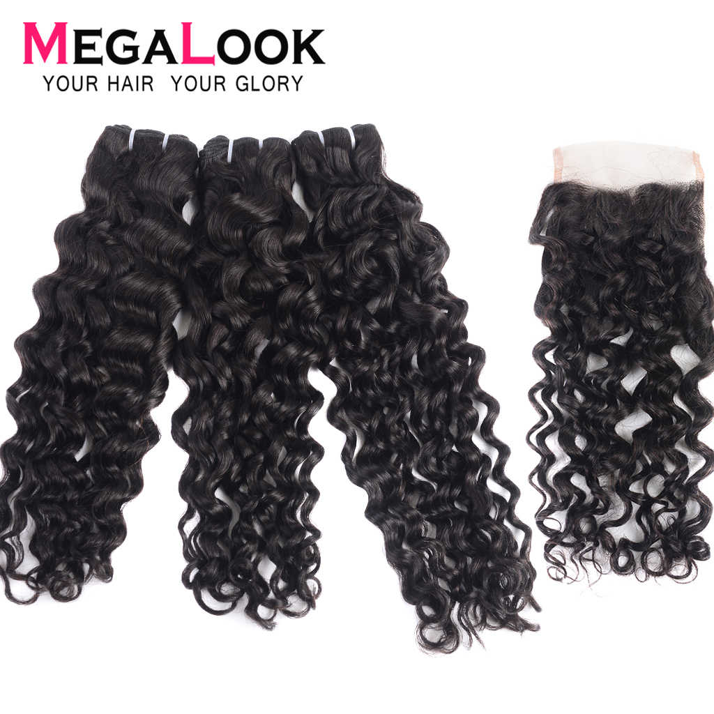 Water Wave Bundles With Closure 3 4 Brazilian Hair Weave Human Hair With Closures Virgin Hair Bundles Double Drawn Megalook Hair