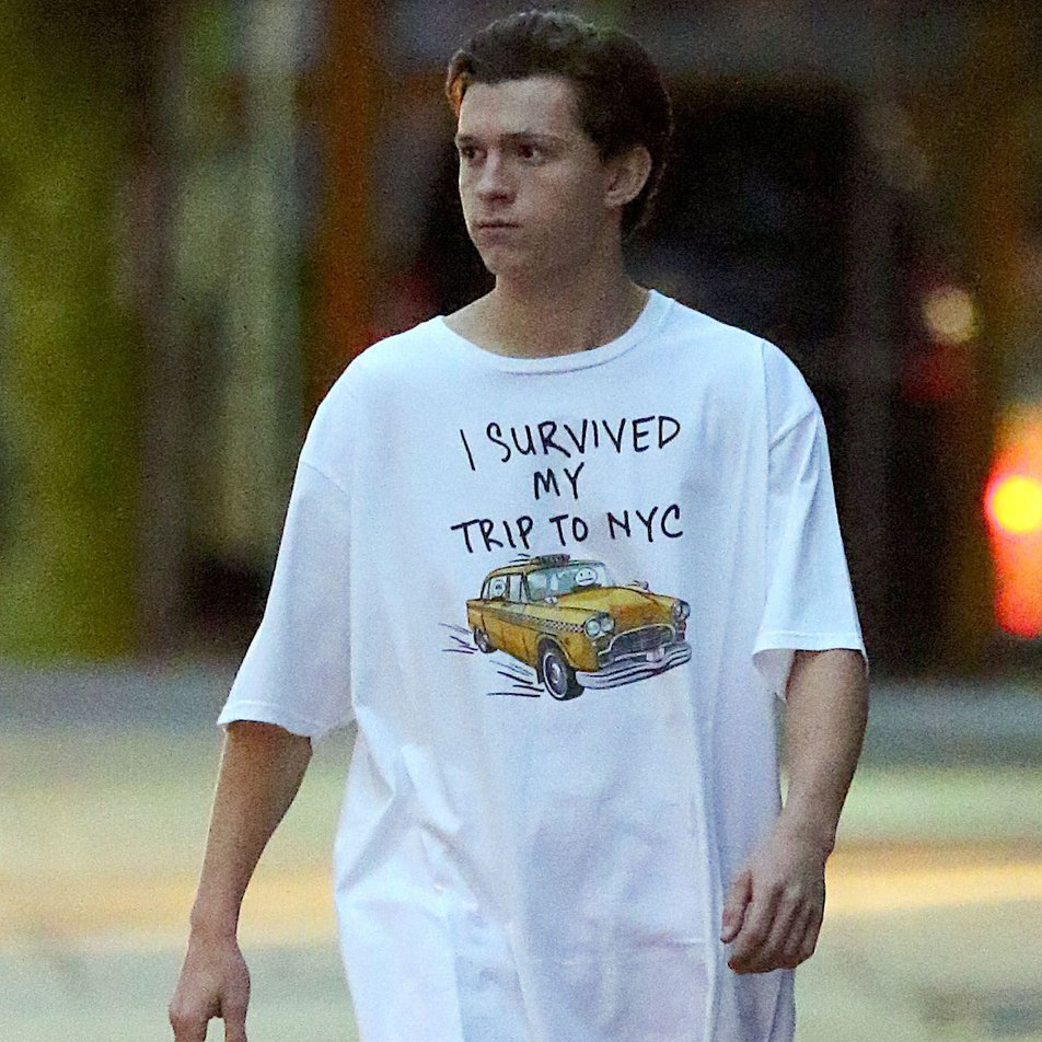 Avengers 3 Spider-Man Homecoming T Shirt Peter  Tom Holland I Survived My Trip To NYC Short Sleeve Cotton Funny T-Shirt