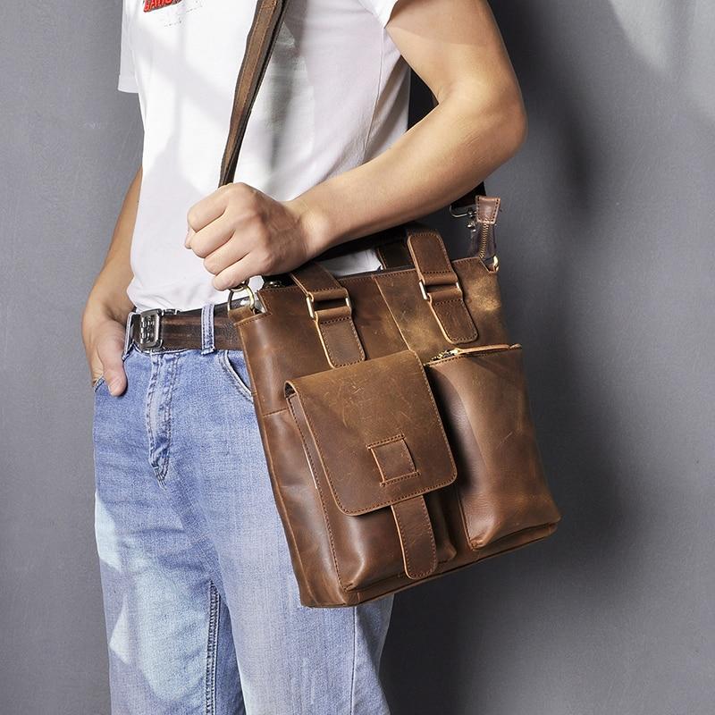 """H8fc2091041bc43e8a4fd52a17d527bc3R Men Original Leather Retro Designer Business Briefcase Casual 12"""" Laptop Travel Bag Tote Attache Messenger Bag Portfolio B259"""