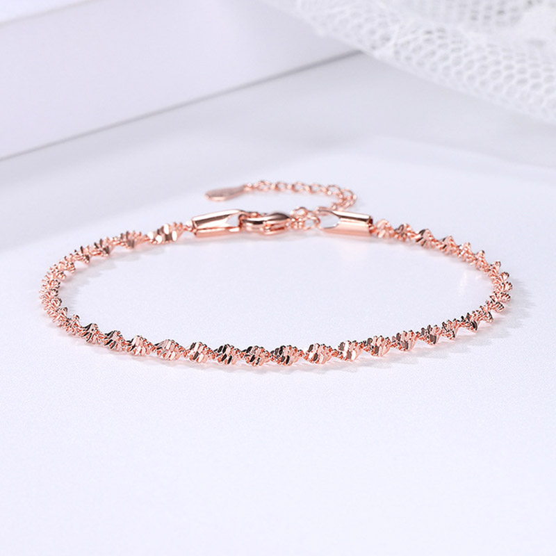 Double Fair Smooth Exquisite Trendy Wave Twisted Grain Bracelet For Women Rose & White Gold Color Fashion Jewelry Gift KBH064