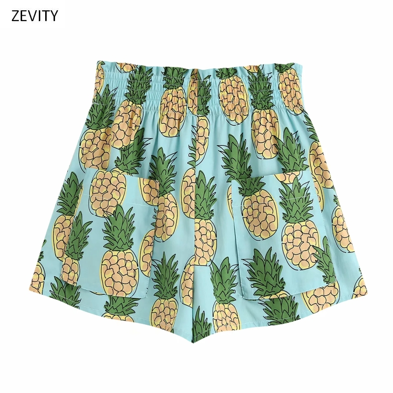 New 2020 Women Tropical Pineapple Print Casual Hot Bermuda Shorts Ladies Chic Elastic Waist Leisure Shorts Pantalone Cortos P818