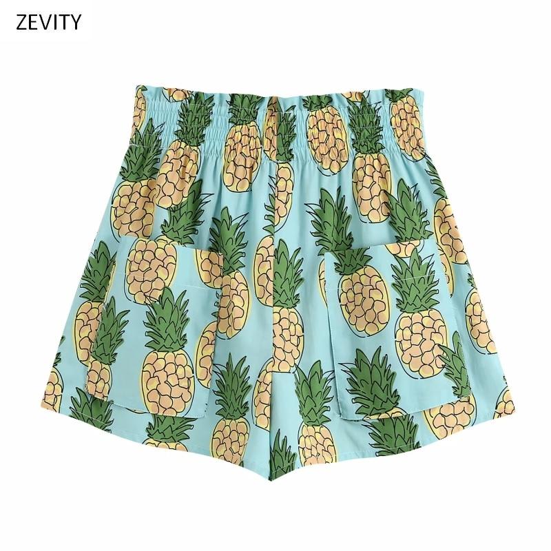 New 2020 Women Tropical Pineapple Print Casual Hot Bermuda Shorts Ladies Chic Elastic Waist Leisure Shorts Pantalone Cortos P818