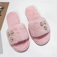 Plus Size Nice Autumn Pop Women Slippers Indoor Fur Warm Pearl Shoes Woman For Dorm Flat Heels Flip Flops For Young Lady