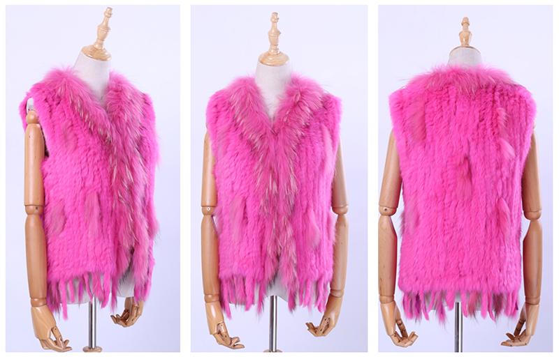 H8fc2560789f748148cd43712de4f1c59k Brand New Women's Lady Genuine Real Knitted Rabbit Fur Vests tassels Raccoon Fur Trimming Collar Waistcoat Fur Sleeveless Gilet