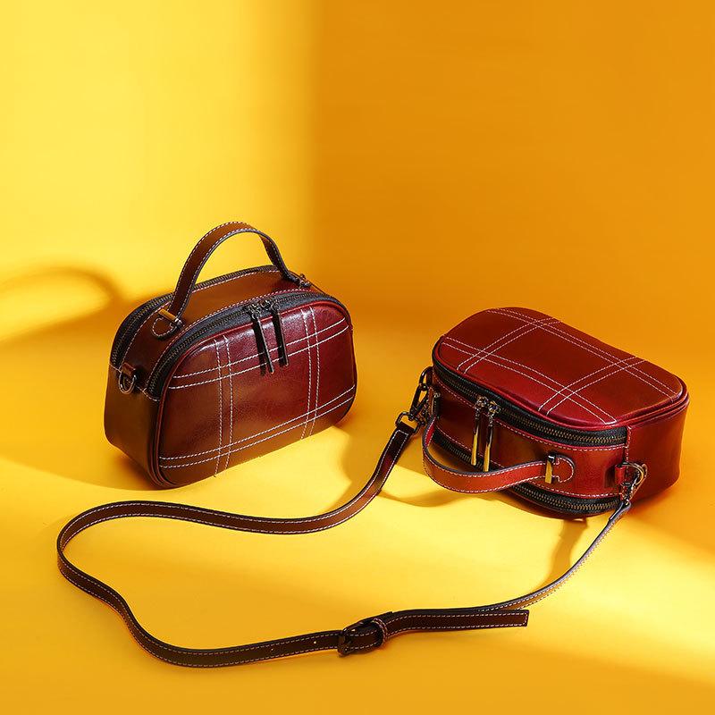 New Style Spring Summer Korean-style Cowhide Shoulder WOMEN'S Bag Fashion Textile Belt Square Sling Bag Lady Bag Wholesale