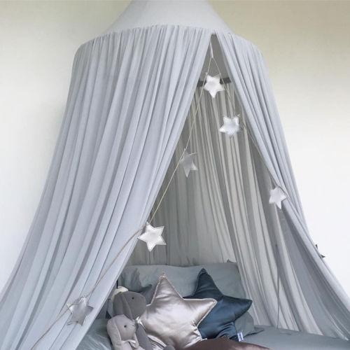 솔리드 시폰 공주 홈 작은 아기 돔 눈 회전 모기장 침대 어린이 캐노피 침대 커버 커튼 침구 돔 텐트