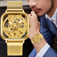 Forsining Gold Watches For Mens Automatic Mechanical Fashion Dress Square Skeleton Wrist Watch Slim Mesh Steel Band Analog Clock