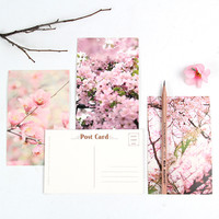 30 Pcs/pack Cute Pink Flower Postcard 14.3*9.3cm Message Greeting Card Gift School Office Supplies
