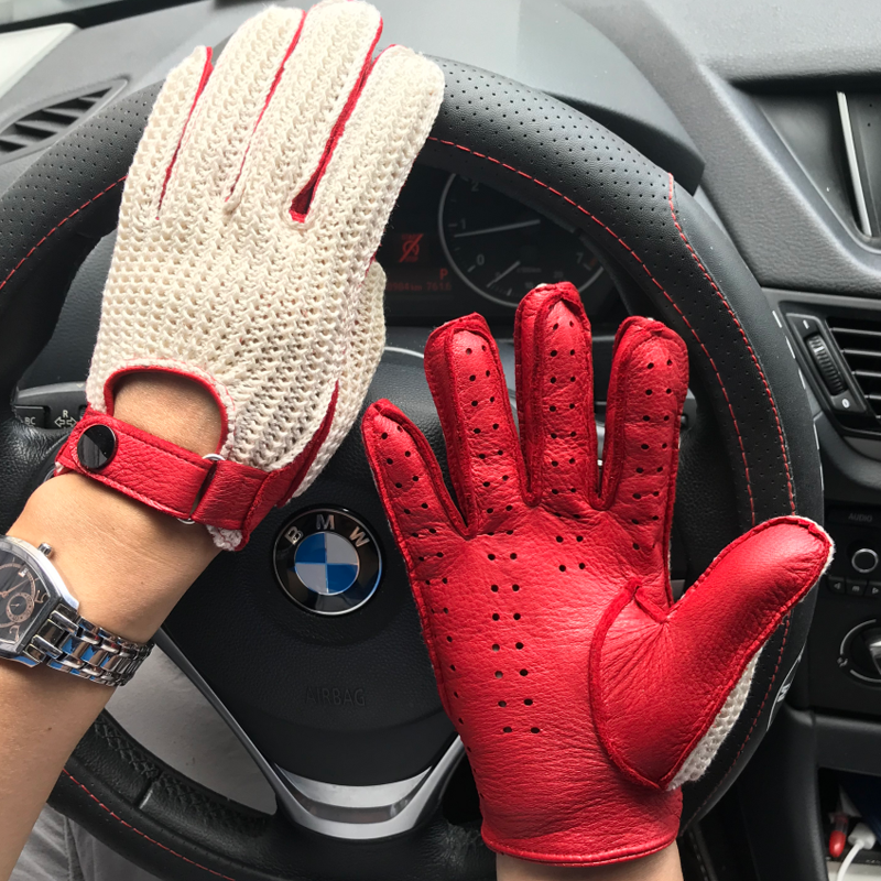 NEW Fashion Men Goatskin Gloves Knitted + Leather Gloves Male Breathable Unlined Locomotive Driving Gloves Man Leather Gloves
