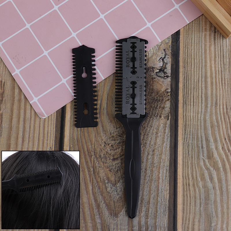 1pcs Professional Hairdressing Thinning Trimmer Black Hair Razor Comb Scissor Wholesale