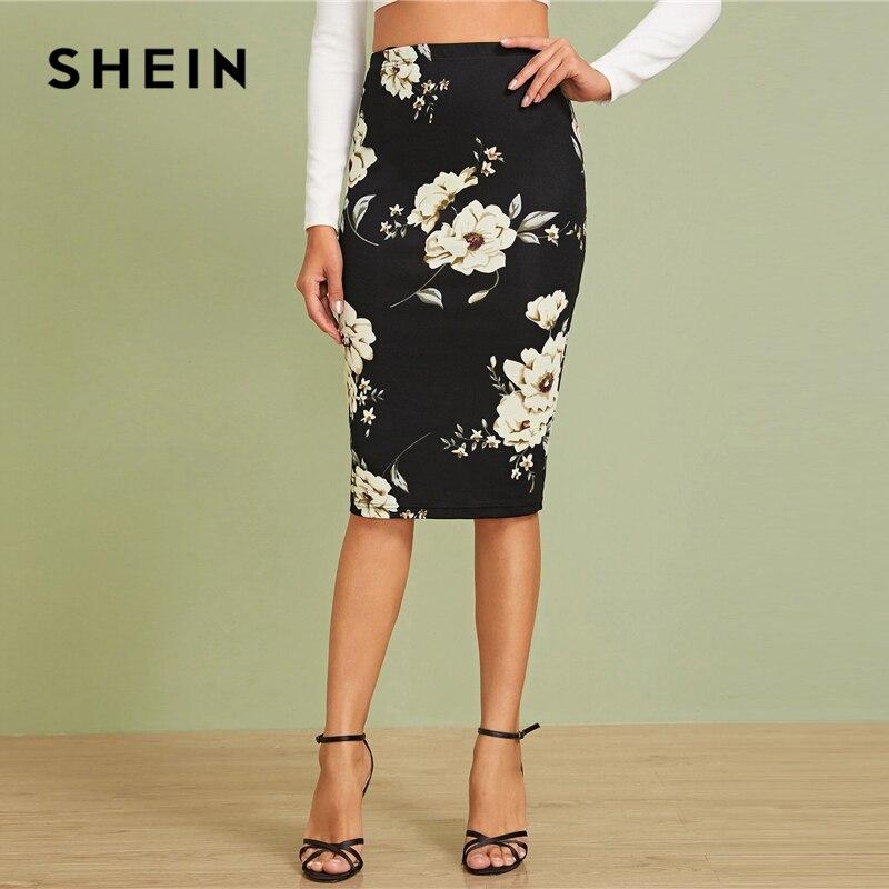 SHEIN Black Elastic Waist Floral Print Pencil Skirt Women Office Lady Autumn High Waist Slim Fitted Elegant Midi Skirts 2